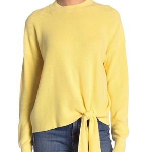 Abound Solid Yellow Tie Front Sweater
